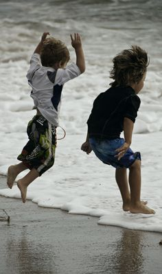 Joyful Wave Jumping, remind me of my son and nephew playing together