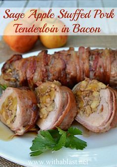 Only 7 Ingredients in this Main dish ! Juicy, tender and bursting with flavor ~ and the BEST part = all wrapped in Bacon !