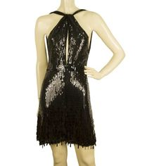 Pre-owned Black sequined dress (€580) ❤ liked on Polyvore featuring dresses, black, evening cocktail dresses, sexy evening dresses, halter cocktail dress, short sequin dress and sexy cocktail dresses