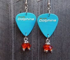 Miami Dolphins Guitar Picks with Orange Crystal Dangles by ItsYourPickToo on Etsy