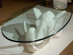 Glass Top Elephant Coffee Table