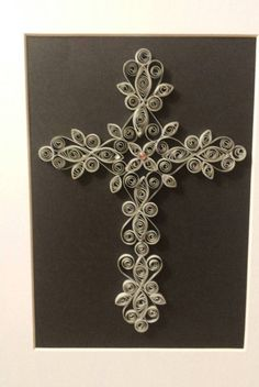 Quilled Wrought Iron Cross Silver by WrittenNtheStars on Etsy