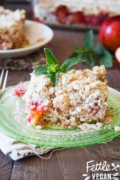 Stone Fruit Crumble Squares! Fresh, sweet summer stone fruit smothered in a low sugar crumb topping + served in bar form. #vegan #GF