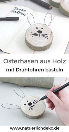 DIY Osterhasen aus Astscheiben - Natürlich Deko Make cute Easter bunnies out of slices of branch with wire ears. Easter decoration, spring decoration, Easter decoration at Easter, decoration wit