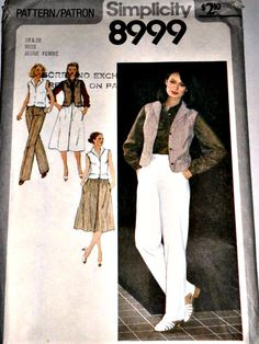 Misses Pants Skirt and Lined Vest Vintage by stitchingbynumbers