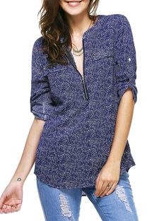 SHARE & Get it FREE | Casual 3/4 Sleeve Zipper Fly Embellished Print Blouse For WomenFor Fashion Lovers only:80,000+ Items • New Arrivals Daily • Affordable Casual to Chic for Every Occasion Join Sammydress: Get YOUR $50 NOW!