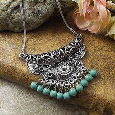 tibetaanse sieraden nieuwe mode klassieke vrouwen folk stijl turquoise ketting turquoise groothandel bohemen in  van  op Aliexpress.com