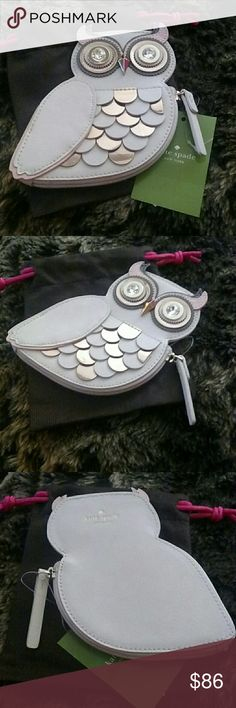 "♠♠🆕Kate Spade Owl Coin Purse♠♠ Kate Spade Satin And Shimmering paillettes To Craft This Sweet Coin Purse In The Guise Of An Owl.  It's A Real Hoot And Sure To Be A Conversation Starter.  Part Of Blaze A Trail Collection.  Colors Are Cream, Pink And Gray. Made Of Satin With Sequin Embroidery And Smooth Metallic Leather Trim.  14k Light Gold Plated Hardware. Custom Woven Caroleena Spade Dot Pink Lining.  5 1/2""(T) X 4 1/2""(W).  Fast Shipping! kate spade Bags Wallets"