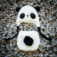 Sneak peek of upcoming blog post: Baby Panda Hat  Diaper Cover