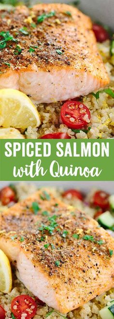 Mediterranean Spiced Salmon and Vegetable Quinoa - This healthy recipe is packed with protein packed! Earthy spices roasted lemons and fresh vegetables in each bite. via Jessica Gavin (Quinoa Recipes Salmon) Mediterranean Spiced Salmon and Vegetabl Mediterranean Salmon, Mediterranean Spices, Mediterranean Diet Recipes, Healthy Recipes, Fish Recipes, Seafood Recipes, Cooking Recipes, Cooking Rice, Microwave Recipes
