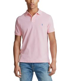Polo Ralph Lauren Custom-Slim Fit Solid Mesh Polo Shirt - Carmel Pink L Ralph Lauren Custom Fit, Ralph Lauren Kids, Polo Shirt Outfits, Ralph Lauren Collection, Short Sleeve Polo Shirts, Summer Outfits, Mesh, Mens Tops, Dillards