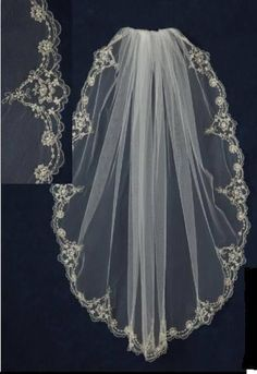Beaded Lace Embroidery Edge Fingertip Wedding Veil C384