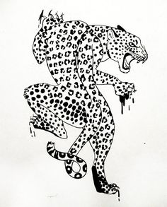 Angry Leopard Tattoo Stencil | Tattoobite.com