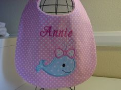 Personalized Baby girl whale bib by grandmasbabyboutique on Etsy, $6.50