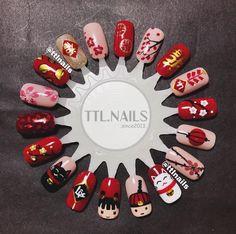 Nail Deaigns, Stiletto Nail Art, Gel Nail Art, Red Nail, Sun Nails, New Year's Nails, Tulip Nails, Pastel Nails, New Years Nail Art