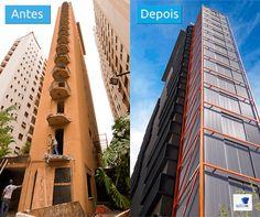 Fachada do VN Alameda Campinas, antes e depois do retrofit