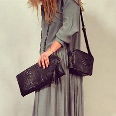 a343bd128 Clutch and shoulder Bag in Croco Leather! #bjoy #black #crocobag #ootd
