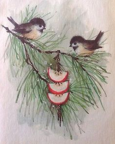Vintage Christmas Greeting Card Parchment Cute Sparrows on Tree Branch Vintage Greeting Cards, Christmas Greeting Cards, Christmas Greetings, Tree Branches, Vintage Christmas, Window, Bird, Night, Friends