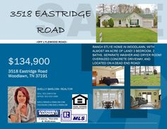 WELCOME TO 3518 EASTRIDGE ROAD, LOCATED IN WOODLAWN. #home #houseforsale #realtor #realestate #Clarksville #tn #ftcampbell #ky #woodlawn #countryliving #acres #listing #flyer #advertising #ColdwellBankerCMH