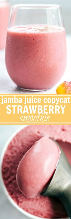 """The absolute BEST EVER Dessert Strawberry Smoothie -- a """"Jamba Juice Copycat recipe made dairy-free."""" From chelseasmessyapron.com"""