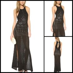 TORN BY RONNY KOBO ♠️ Calina Pointelle Gown NWT This slinky Ronny Kobo maxi dress has a bold, sexy look with high slits and side cutouts. Pointelle stitches lend delicate texture. Tasseled ties close the keyhole. Contrast mini-dress lining.  Fabric: Slinky pointelle knit. 80% viscose/20% nylon. Hand wash or dry clean. Imported, China.  Measurements Length: 57in / 145cm, from shoulder Measurements from size S Torn by Ronny Kobo Dresses Maxi