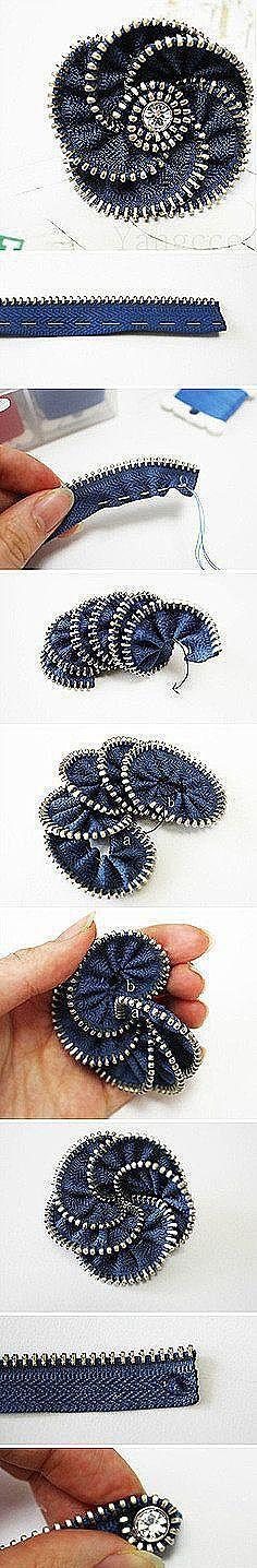 Zipper Flowers and Zipper Flowers, Felt Flowers, Diy Flowers, Fabric Flowers, Zipper Jewelry, Diy Jewelry, Jewelery, Jewelry Making, Zipper Crafts