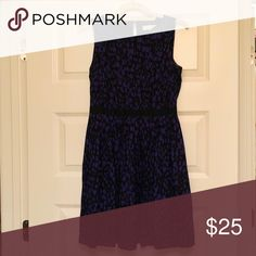 e2c072cd0313 Ann Taylor LOFT dress Slightly above knee purple black printed dress.  Ribbon waist band