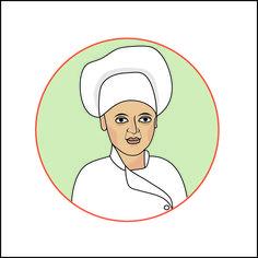 Hilda Souto. Cozinheira. Ilustração digital para site.