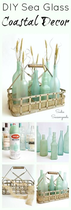 DIY coastal / beach decor is as easy as raiding your recycling bin and repurposing your glass bottles and jars! Special spray paints and frost etch effect paint transform them into stunning, gorgeous sea glass bottles! Super easy DIY upcycle craft project that anyone can do and the results are stunning- perfect way to celebrate summer! #SadieSeasongoods / www.sadieseasongo...