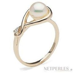 Bague Or 14 carats et diamant avec perle d'eau douce blanche 6-7 mm DOUCEHADAMA