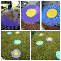 Gave our old clay stepping stones new life by painting them with Patio Paint. Adding glow in the dark paint soon!