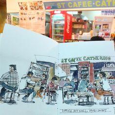 Jamming dengan abam @tuyuk_firdaushusain di Danga City Mall #johorsketchers #urbansketchers #sketchbook #sketch #watercolor #johorbahru #johor | por Hafizal_Nordin
