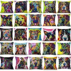#Schnauzer #Pug A #Pitbull Smiles #Collie #Terrier #GermanShepherd #Bulldog #Boxer #Dachshund Cotton Linen Square Cushion Cover Pillow Case For Sofa Home Decor