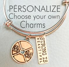 Strong is Beautiful, Customize Inspired Silver Bracelet, Charms, Weights, Strength, Personalized Gift, Customize, Crossfit, Fit, Trainer by Arrimage on Etsy
