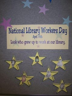 Neat idea for next year! Our Mannington library staff created a display of staff baby pictures for Book Displays, Library Displays, Friends Of The Library, Workers Day, Library Ideas, Media Center, Display Ideas, Baby Pictures, Growing Up