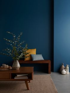 Our new GoodHome paint range is a curated collection of up to 80 beautiful colours giving you everything you need to transform your home. The range includes GoodHome Walls Bedroom Paint Colors, Wall Colors, Modern Bedroom, Bedroom Decor, Bedroom Ideas, Antibes, Blue Walls, New Homes, House Design