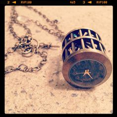 Birdcage Clock & Glass Necklace by SQUAREPEGMEG on Etsy, $38.00