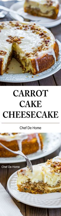 Carrot Cake Cheesecake long picture with slice and whole cake | chefdehome.com