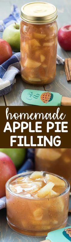 Homemade Apple Pie Filling - this easy recipe takes just a few minutes and tastes so much better than canned pie filling! Keep it in your freezer for when you want pie filling ASAP! via @crazyforcrust