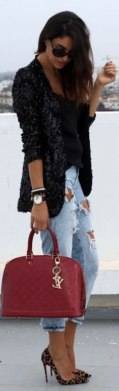 Sequin jacket with damaged jeans