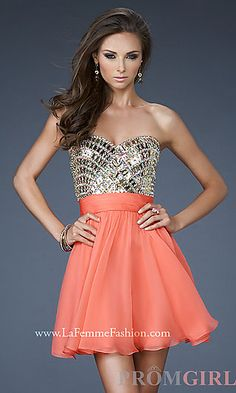 La Femme hot coral dress. Love love love! #homecoming #prom #dress #short #coral #orange #gorgeous #lafemme