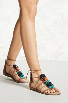 FOREVER 21  Fringed Gladiator Sandals - $24.90