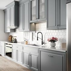 New Kitchen Design Black Grey Subway Tiles 48 Ideas Backsplash For White Cabinets, White Countertops, White Kitchen Cabinets, Kitchen Backsplash, Kitchen Sinks, Kitchen White, Dark Cabinets, Kitchen Appliances, Modern Shaker Kitchen