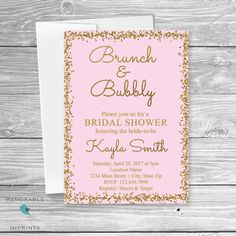 Brunch and Bubbly Bridal Shower invitation, Bridesmaid Luncheon, Bubbles and Bliss Bridal invite, Champagne Bridal Shower, Pink Gold Bridal, Invitations by Memorable Imprints