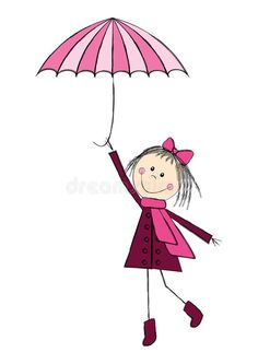 Illustration about Cute girl with pink umbrella. Illustration of child, cute, graphic - 26961302 Fairy Drawings, Art Drawings For Kids, Drawing For Kids, Cartoon Drawings, Cute Drawings, Art For Kids, Stick Figure Drawing, Kids Room Wall Art, Animal Coloring Pages