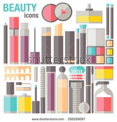 Flat icons set of common different cosmetics, makeup object, skin care and other professional product and accessories for female beauty. Modern design style vector print illustration concept.  - stock vector