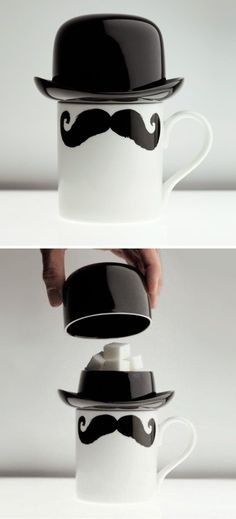 Mustache Coffee Cup & Bowler Hat Sugar Bowl This would be me. Mine with Marshmallows. And Hot Chocolate. -Short Stack(:
