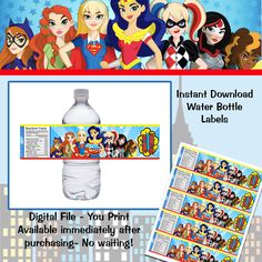 Instant Download! DC Super Hero Girls  Water Bottle Labels by TotheTCreations on Etsy