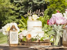 Bucolic touches make this cake table a treat for the eye.