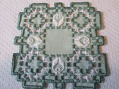 Hardanger Norwegian Embroidery Doily Green with Green and White | eBay